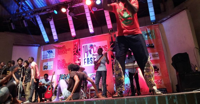 Crown Troupe of Africa Performing during LABAF 2016|Courtesy of Lagos Book and Arts Festival