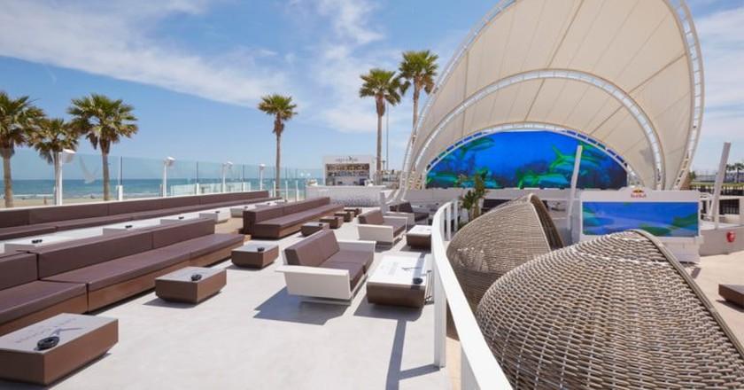 The terrace at Marina Beach Club, Valencia. Photo courtesy of Marina Beach Club