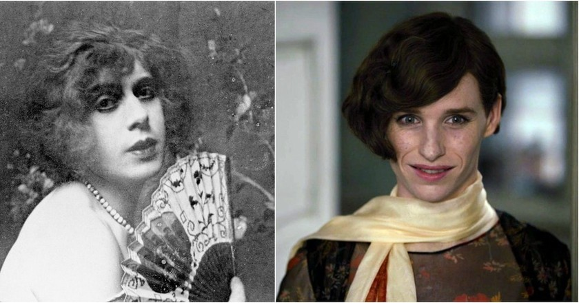 "Lili Elbe and Eddie Redmayne as Lili Elbe in ""The Danish Girl"" 