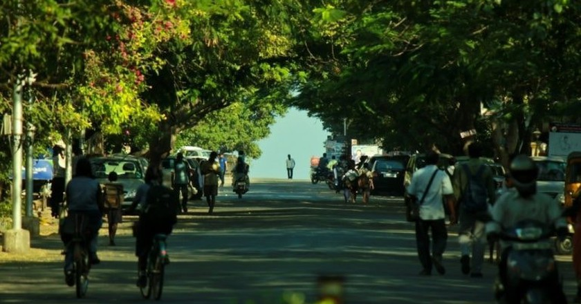 The road from Theosophical Society leading to the Besant Nagar Beach