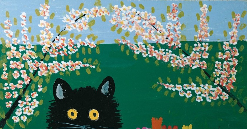 Maud Lewis, Three Black Cats, 1955, oil on pulpboard. Private Collection | © Art Gallery of Nova Scotia