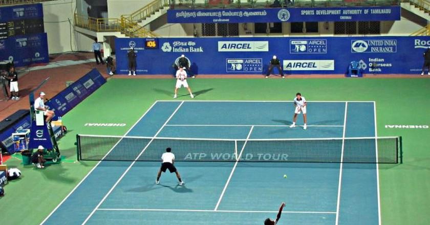 An Aircel Chennai Open doubles match at the SDAT Tennis Stadium in Nungambakkam, Chennai   ©Ashok Prabhakaran/Flickr