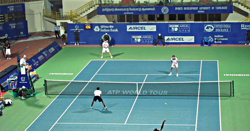 An Aircel Chennai Open doubles match at the SDAT Tennis Stadium in Nungambakkam, Chennai | ©Ashok Prabhakaran/Flickr