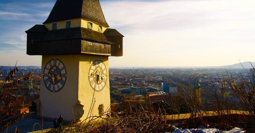 Clock tower in Graz, Austria