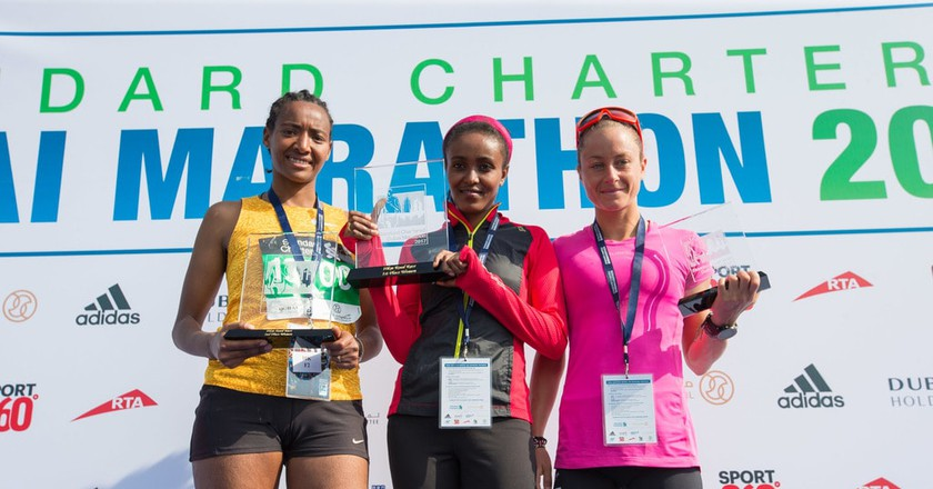 The women's winner of Dubai Marathon 2017 | Courtesy of Standard Chartered Dubai Marathon 2018