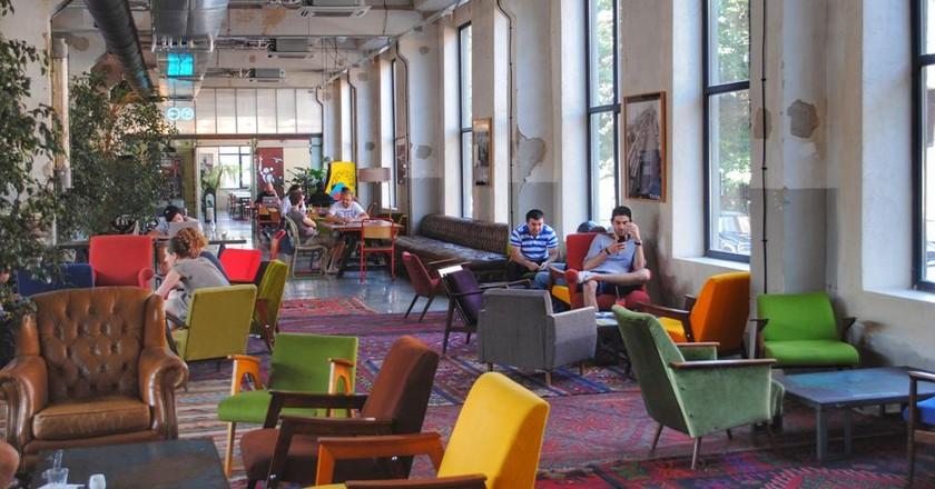 Fabrika Hostel common area and bar   © Baia Dzagnidze
