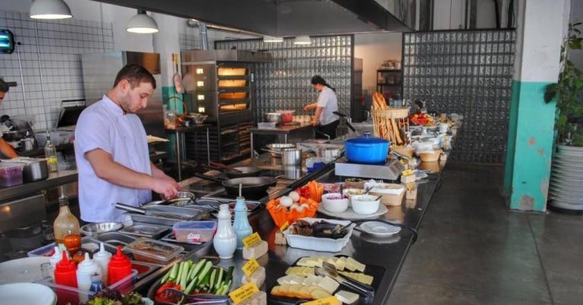 Breakfast buffet at Fabrika   © Baia Dzagnidze