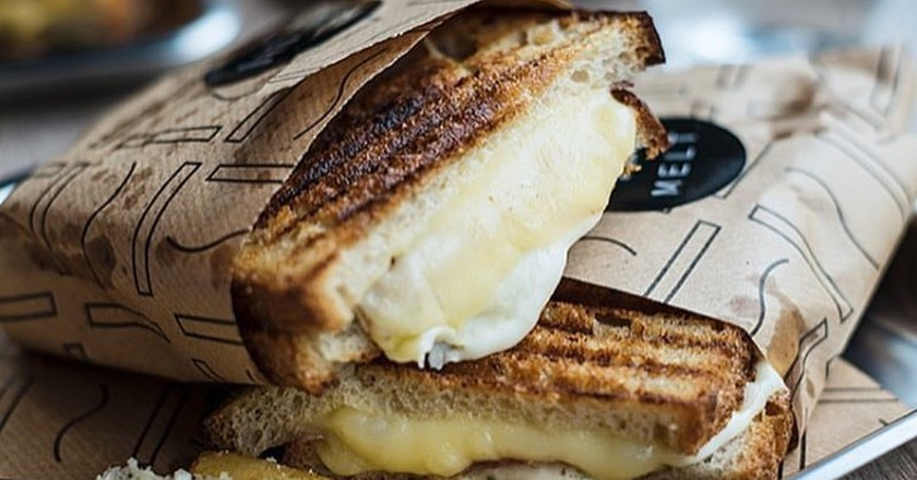 Melt grilled cheese sandwich with mozzarella and parmesan | Courtesy of Melt