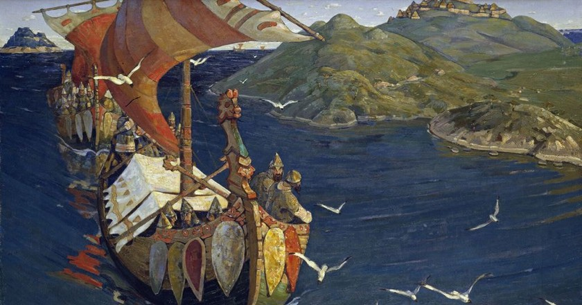 """Guests from Overseas"" from the series ""Beginnings of Rus'. The Slavs."" (1901) by Nicholas Roerich 