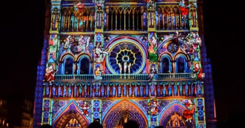 Epic Illuminations Appear on Paris' Notre-Dame