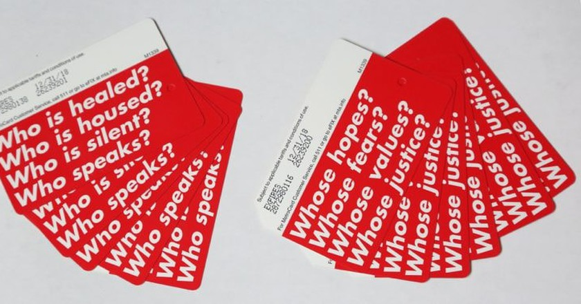 Limited edition MetroCards designed by Barbara Kruger | © Job Piston/Performa