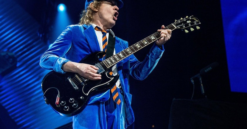 Mandatory Credit: Photo by Amy Harris/REX/Shutterstock (5892935m) AC/DC - Angus Young AC/DC in concert at Quicken Loans Arena, Cleveland, USA - 06 Sep 2016