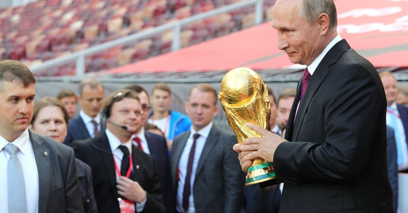 Russia president Vladimir Putin holds the World Cup Trophy | © Kremlin Pool/Planet Pix via ZUMA Wire/REX/Shutterstock
