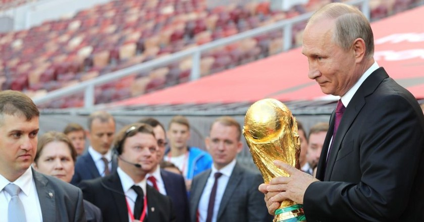Russia president Vladimir Putin holds the World Cup Trophy | © Kremlin Pool/Planet Pix via ZUMA Wire/REX/Shutterstock