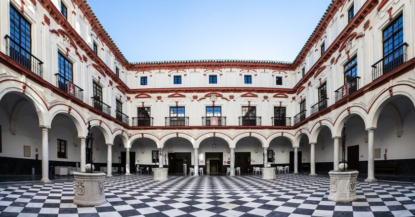 The beautiful internal courtyard at Hotel Convento, Cádiz; courtesy of Hotel Convento