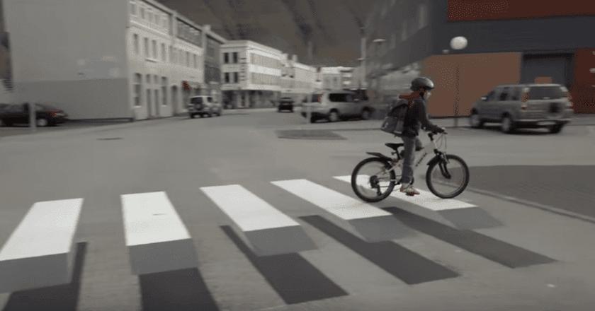 Iceland's 3D crosswalk, by Vegamálun GÍH-Gústi Productions   Courtesy of YouTube