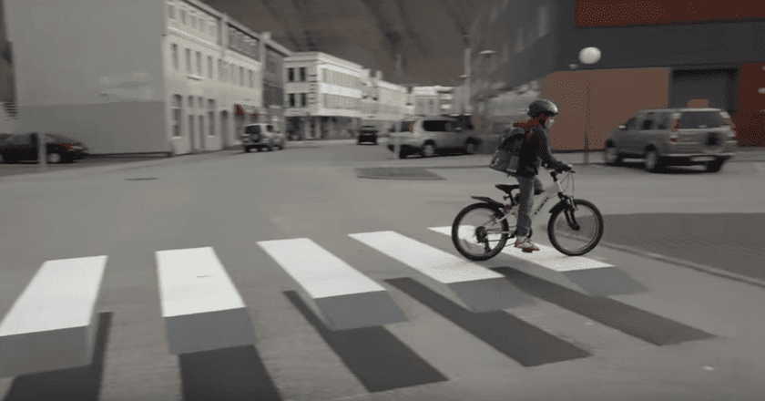 Iceland's 3D crosswalk, by Vegamálun GÍH-Gústi Productions | Courtesy of YouTube