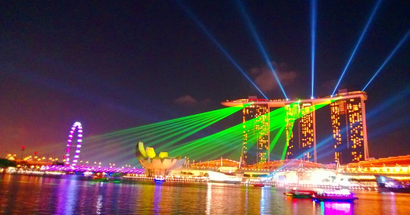 Green laser show in Marina Bay