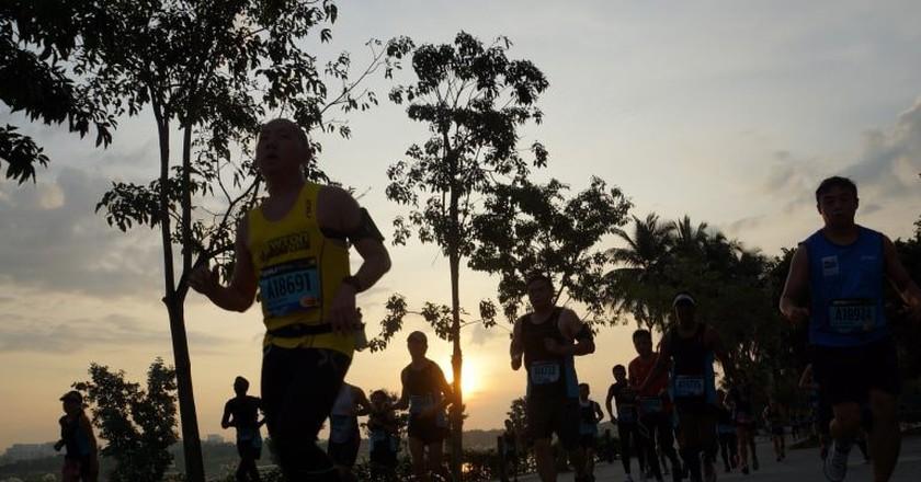 Running into the sunset