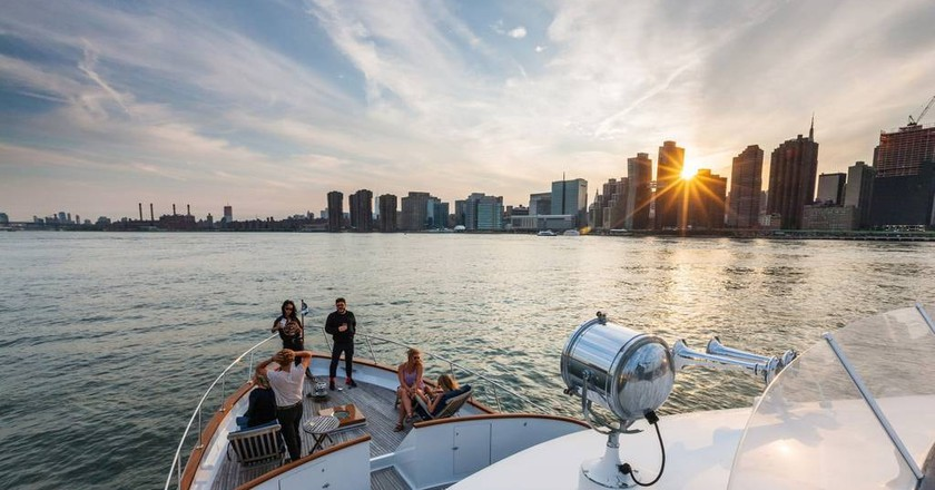 Private yacht in the Hudson River | Courtesy of Scott/Airbnb