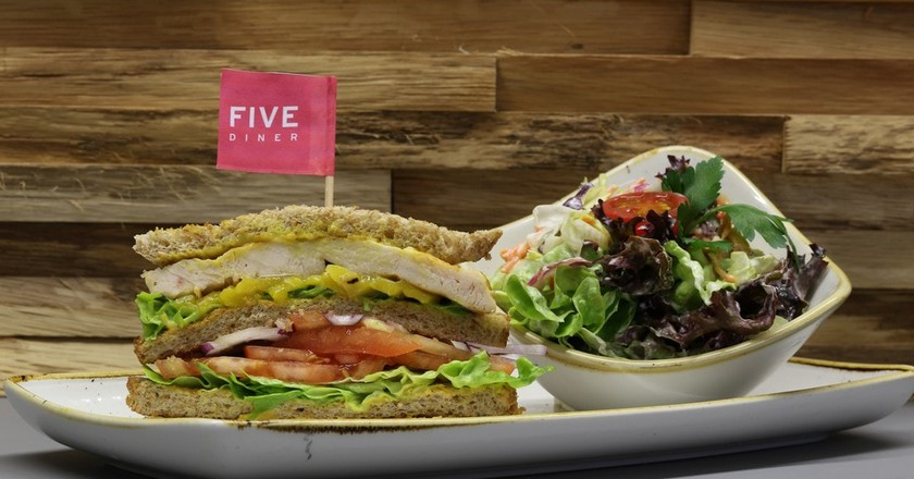 Sandwich and salad at Five Diner | Courtesy of Five Diner
