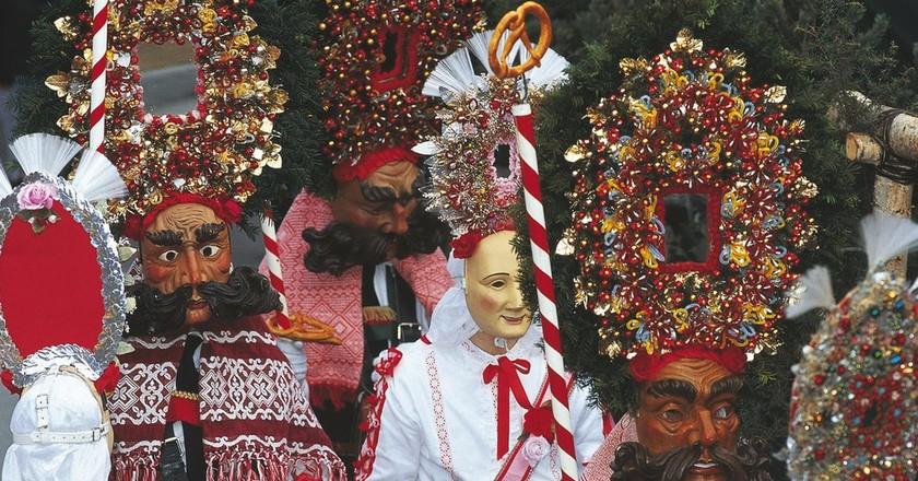 Some costumes at Imst Schemenlauf Parade | Austrian Tourist Board