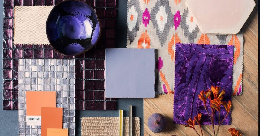 Mood board featuringMetropolitan Field Tile in Heath (centre) | Courtesy of Original Style