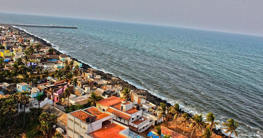 Aerial view of Promenade Beach | © Karthik Easvur / Wikimedia Commons