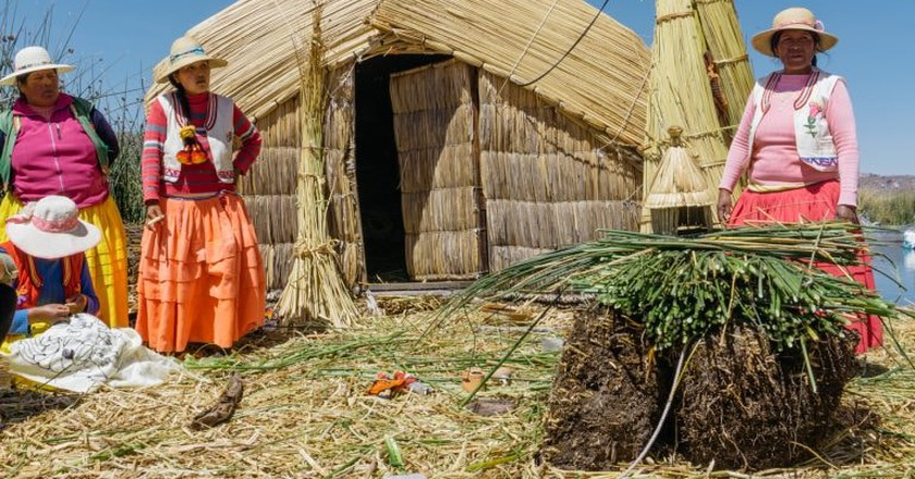 Uros Women working with reeds