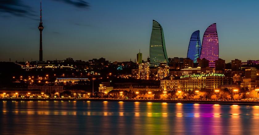 Night view of the Flame Towers in Baku, Azerbaijan | © RAndrei/Shutterstock