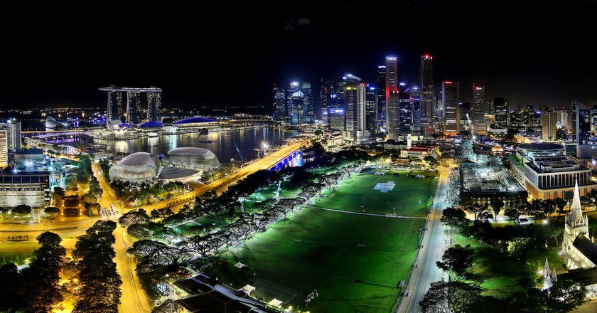 Singapore Civic district overlooking Marina Bay