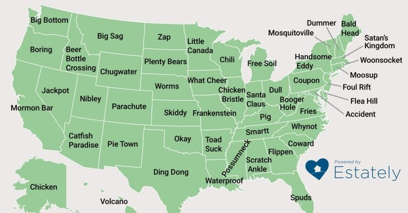 From Dickshooter to Belchertown, This Map Shows the Most Hilarious Town Names Ever