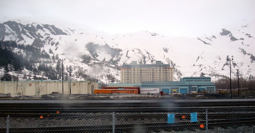 A view of Begich Towers from across the train tracks   © Barbara Ann Spengler / Flickr