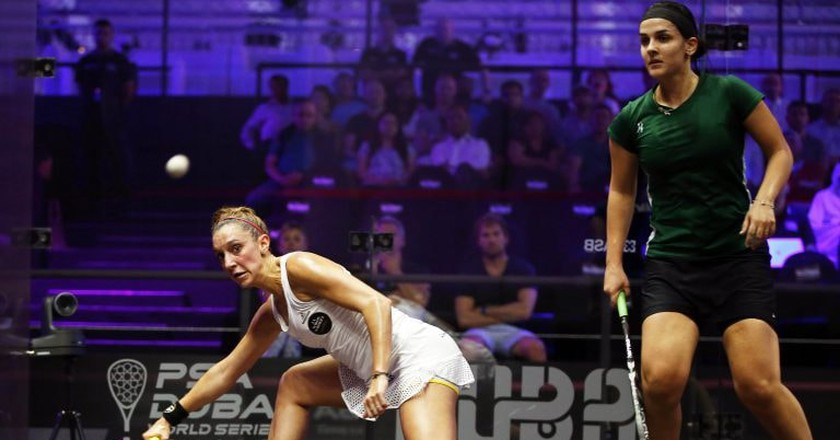 Camille Serme (left) is the No. 3 women's squash player in the world   © Ali Haider/Epa/REX/Shutterstock