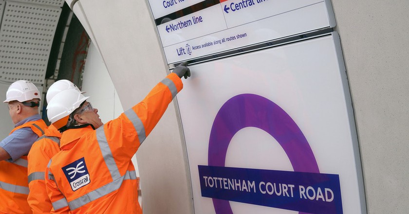 New Elizabeth line sign at Tottenham Court Road