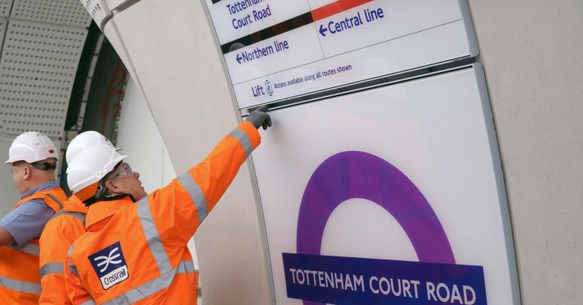 New Elizabeth line sign at Tottenham Court Road
