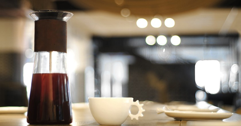 Alpha Dominche's new Flask home coffee brewer | Courtesy of Alpha Dominche