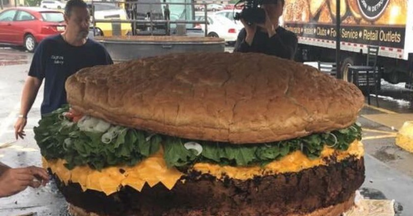 What an 1,800 pound burger looks like   Courtesy of Mallie's Sports Grill & Bar