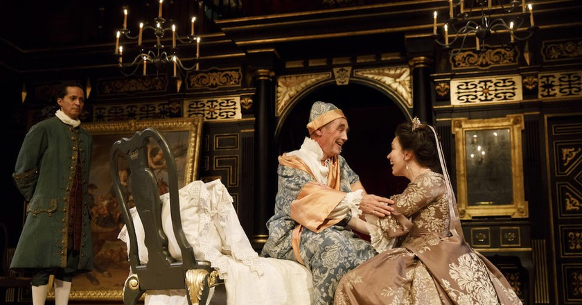 Huss Garbiya, Mark Rylance, and Melody Grove in 'Farinelli and the King' | © Joan Marcus