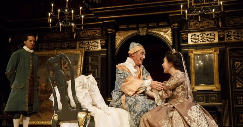 Huss Garbiya, Mark Rylance, and Melody Grove in 'Farinelli and the King'   © Joan Marcus