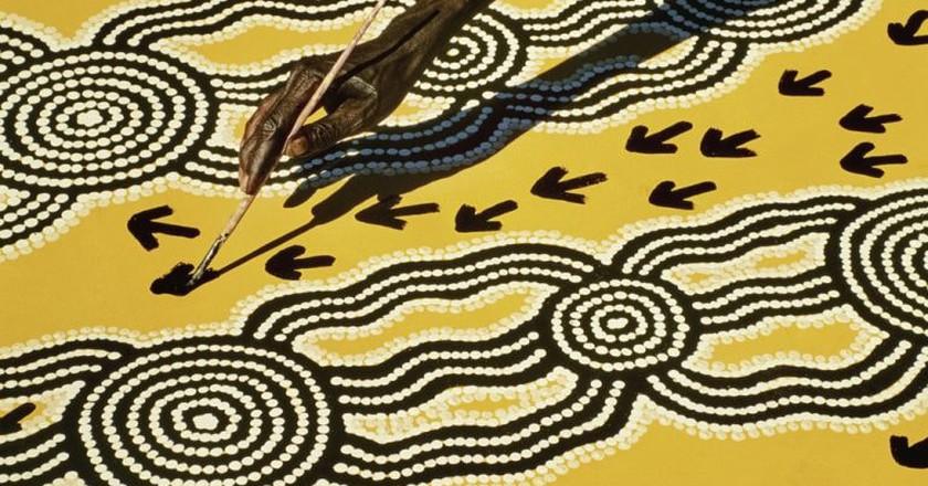 Mandatory Credit: Photo by Mint Images/REX/Shutterstock (3585483a) Aboriginal artist at work, Central Desert, Australia VARIOUS