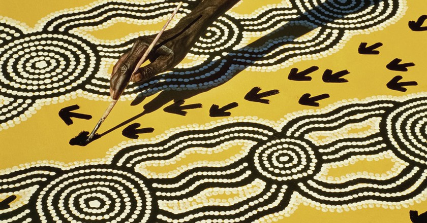 Mandatory Credit: Photo by Mint Images/REX/Shutterstock (3585483a) Aboriginal artist at work, Central Desert, Australia VARIOUS