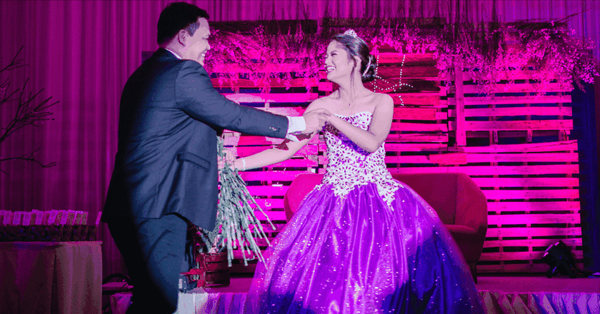Hannah dancing with her dad at her debut