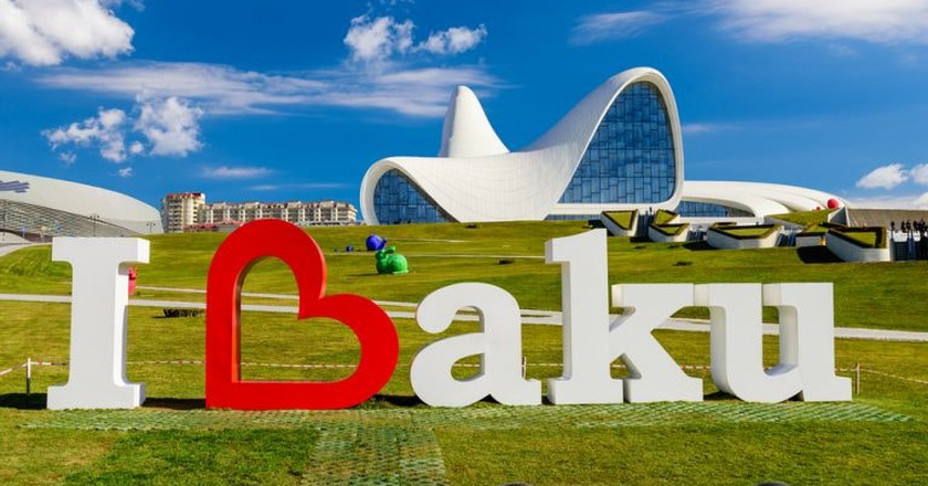 I Love Baku sign outside the Heydar Aliyev Center | © RAndrei/Shutterstock