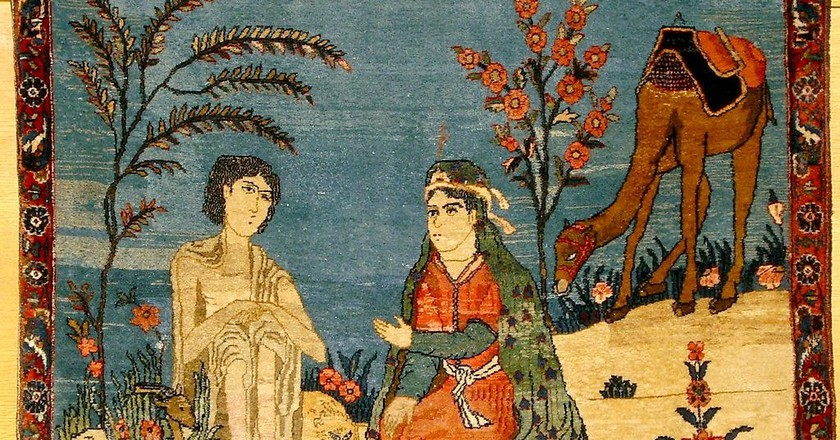 Art on a carpet depicting Leyla and Majnun | © carpetgallery.eu/WikiCommons