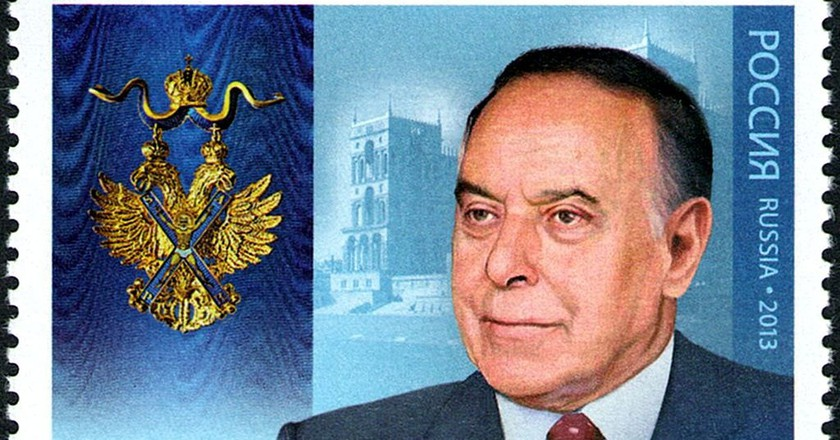 Heydar Aliyev on a Russian stamp | © Russian Post/WikiCommons