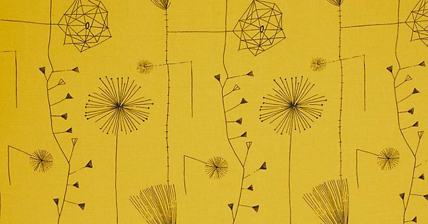Dandelion Clocks curtain fabric, Lucienne Day, 1953, reissue by Classic Textiles
