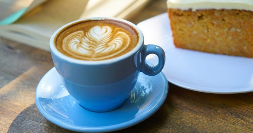 Latte and cake