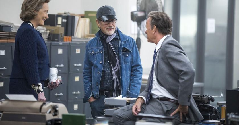 Meryl Streep, Director Steven Spielberg, and Tom Hanks on the set of THE POST. Photo Credit: Niko Tavernise.