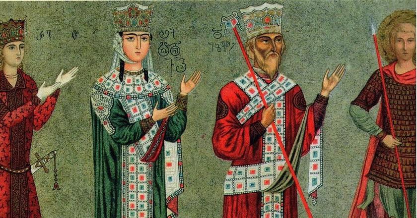 King Tamar and King George III, Mural Painting 11th Century, Georgia   © Grigory Gagarin / WikiCommons